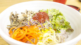 Bibimbab rice mixed with chilli paste in Korean style Royalty Free Stock Photo