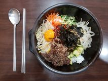 Bibimbap, alimento tradicionalmente coreano muito famoso fotos de stock royalty free