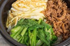 Bibimbap coreano da culinária, do ovo e da carne imagem de stock