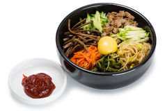 Bibimbap dish of meat, rice, vegetables and egg Stock Images