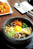Bibimbap in a heated stone bowl Royalty Free Stock Image