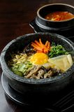 Bibimbap in a heated stone bowl Royalty Free Stock Images