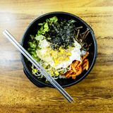Bibimbap ist der berühmteste koreanische Teller Seoul, Südkorea lizenzfreie stockbilder