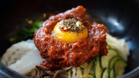 Bibimbap, Korean hot mix side dishes food. With red sauce Stock Image