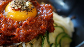 Bibimbap, Korean hot mix side dishes food Royalty Free Stock Image