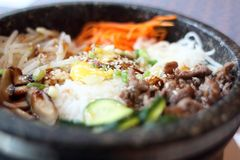 Bibimbap in stone bowl Royalty Free Stock Image