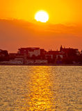 Bibinje village in Dalmatia golden sunset Royalty Free Stock Images