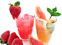 Bibite analcoliche con frutta fotografia stock