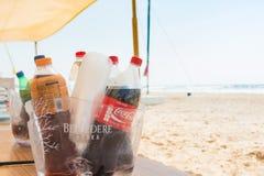 Bibite sulla spiaggia Immagine Stock