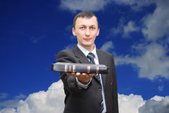 Bible. This is an image of man holding a Bible Royalty Free Stock Images
