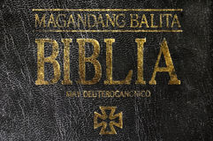 The Bible. Old Philippine Bible (in Pilipino Stock Photo