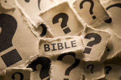 Bible. Picture of a word bible with question marks around it Stock Images