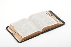 Bible. Antique Bible photographed in the studio on a white background Stock Photo