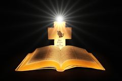 Bible. And cross with the light of god royalty free stock photos