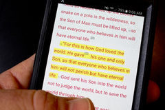 Bible app. Holy Bible app on smart phone Royalty Free Stock Image