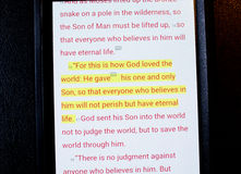 Bible app. Holy Bible app on smart phone Stock Images