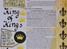 Bible art journaling about King of Kings. Bible art journaling about the King of Kings in the book of revelations in yellow and gold Stock Photo