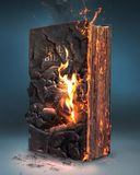 Bible and fire. A Bible being burned by a fire royalty free stock photo