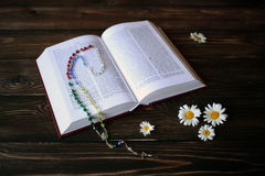 Bible book and camomile stock photography