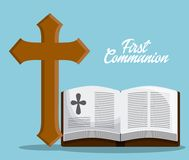 Bible book cross icon. Vector graphic. Bible book cross  icon. First communion concept. Flat and Colorfull illustration. Vector graphic Stock Images