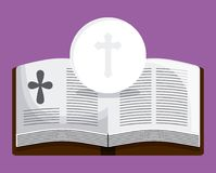 Bible book cross icon. Vector graphic. Bible book cross  icon. First communion concept. Flat and Colorfull illustration. Vector graphic Royalty Free Stock Photo