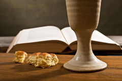 Bible With Bread And Chalice Royalty Free Stock Photos