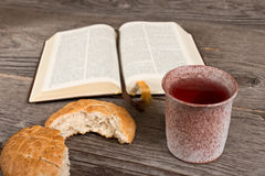 Bible With Bread And Chalice Royalty Free Stock Photo