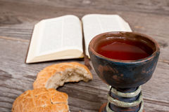 Bible With Bread And Chalice Stock Photo