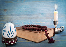 Bible and candle Stock Photos