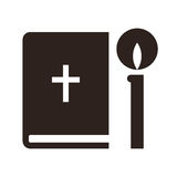 Bible and candle icon Royalty Free Stock Photography