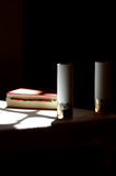 Bible and candle. Still life religion stock photos