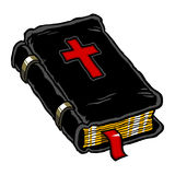 Bible. A cartoon style vector illustration of a black Holy Bible with a red cross on the front and a red bookmark Royalty Free Stock Photo