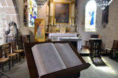 Bible in the Cathedral. In France stock photos