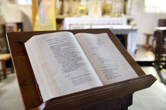 Bible in the Cathedral. In France stock images