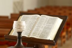 Bible and chalice Stock Photos