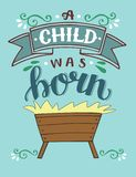 Bible Christmas lettering A child was born with manger. vector illustration