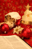 Bible and Christmas stollen Royalty Free Stock Photos