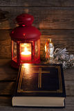 Bible and Christmas time Stock Photos