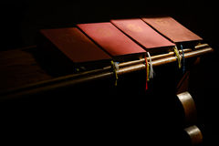 Bible on church pew Royalty Free Stock Image