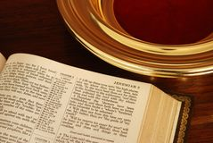 Bible and Collection Plate Stock Photography