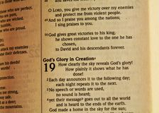 Bible and creation text, close up Stock Photography