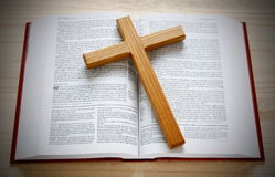 Bible and cross Stock Image