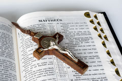 Bible with Cross Stock Photography