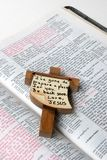 Bible Cross. Jesus cross on bible Stock Photography