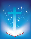 Bible and cross. Vector illustration of a christian cross and light coming from the bible Royalty Free Stock Image