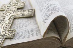 Bible with cross on it. Bible with big gold cross on it Royalty Free Stock Images