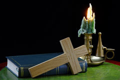 Bible and Cross with Candle Royalty Free Stock Photos
