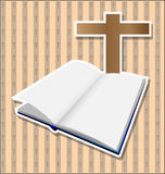 Bible with cross card Stock Photo