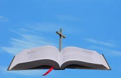 Bible, cross and heaven conept Stock Photos