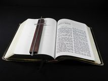 Bible with Cross Overlaid Royalty Free Stock Images